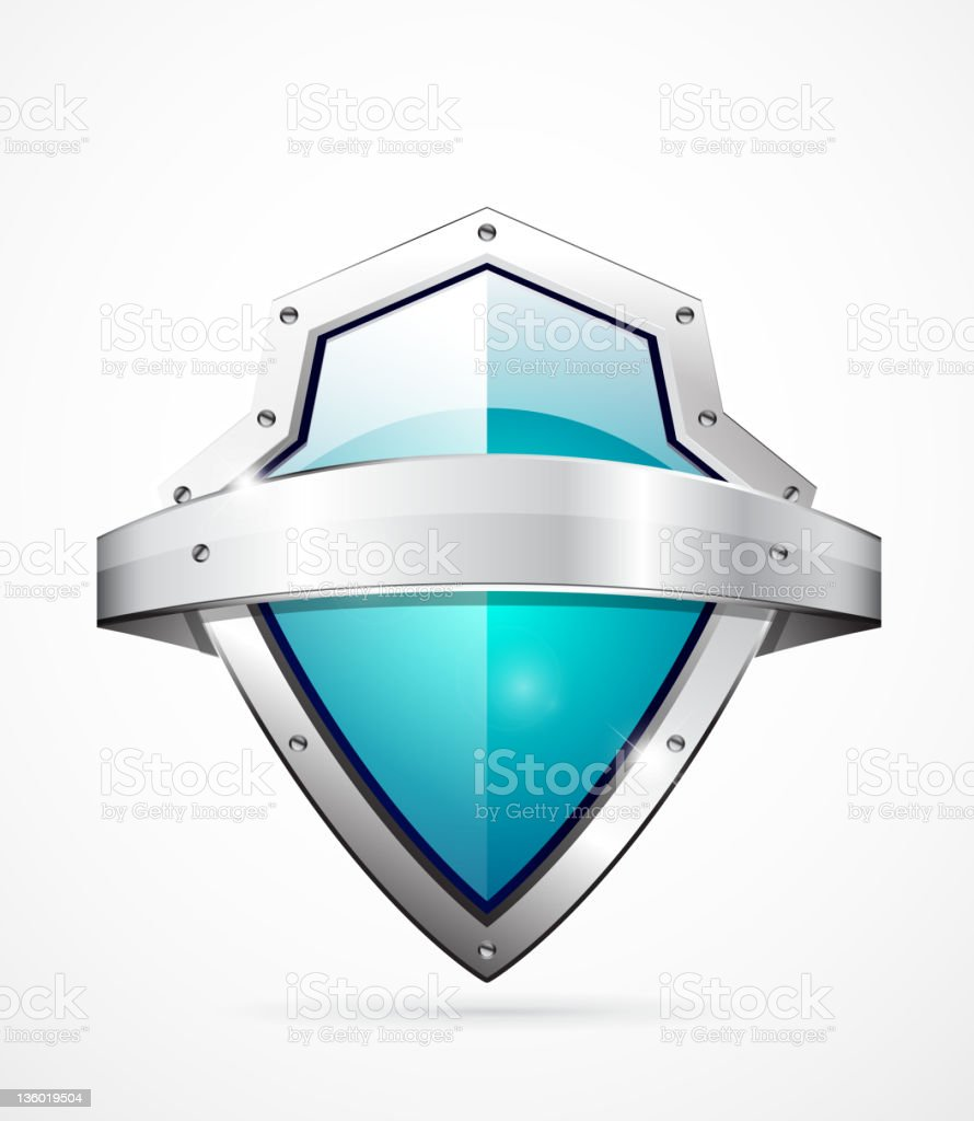 Metal shield icon royalty-free stock vector art