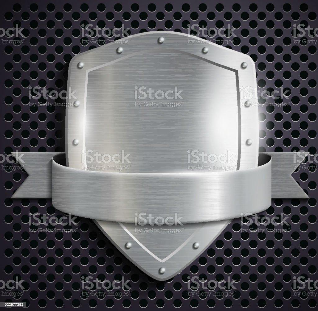 metal shield vector art illustration