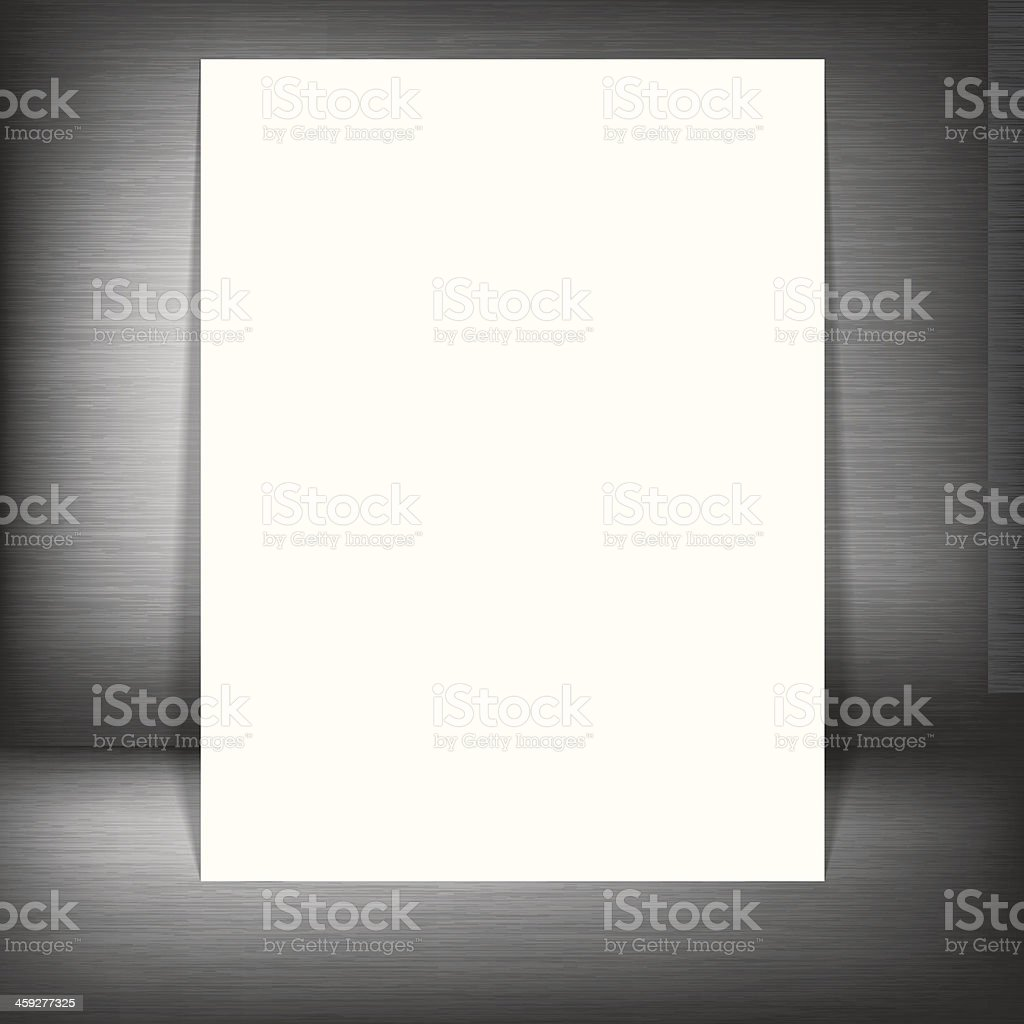 Metal silver background with white paper royalty-free stock vector art