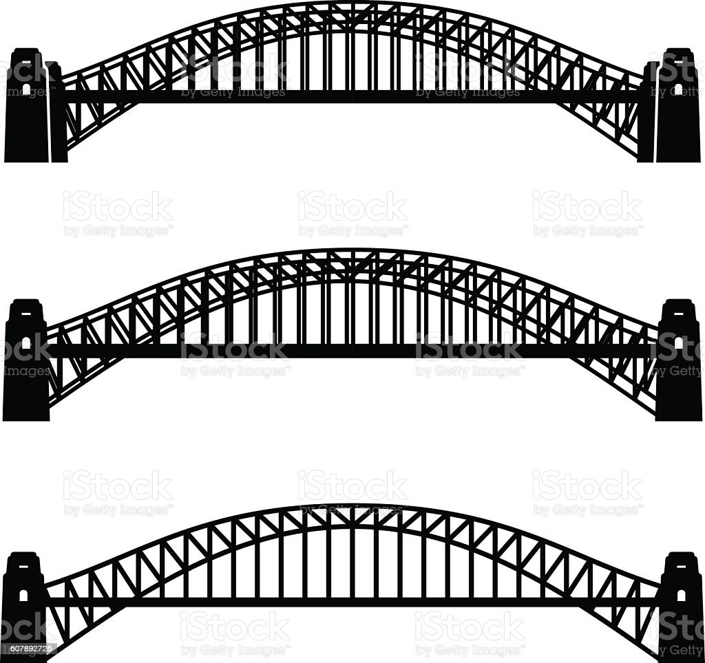 metal Sydney Harbour bridge black symbol vector art illustration