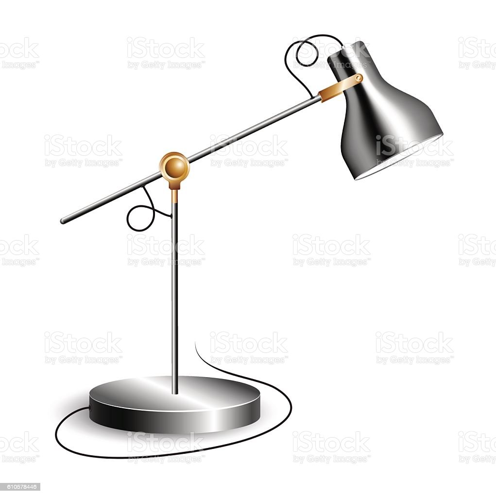 Metal table lamp with joint and shiny chrome shade vector art illustration