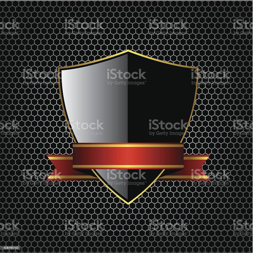 Metal textures and shield illustration background vector art illustration