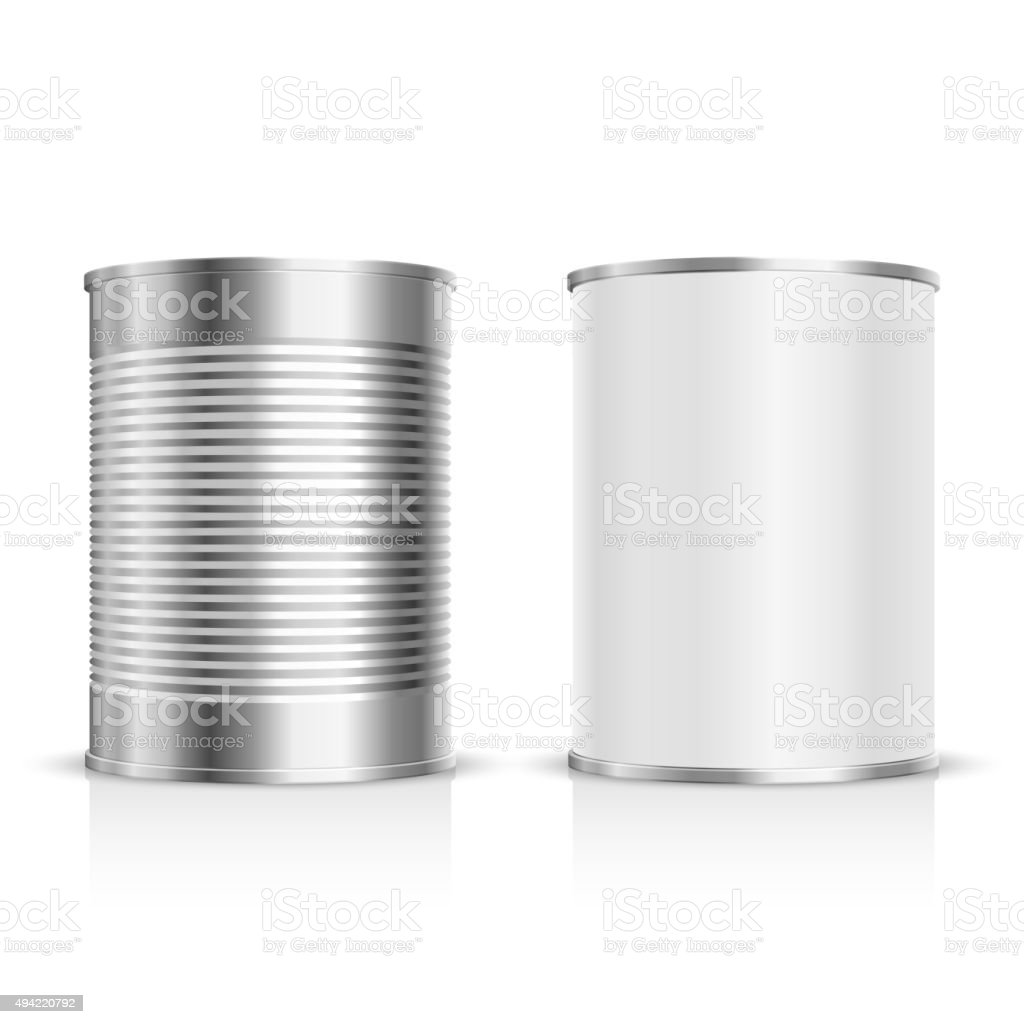 Metal tin set vector art illustration