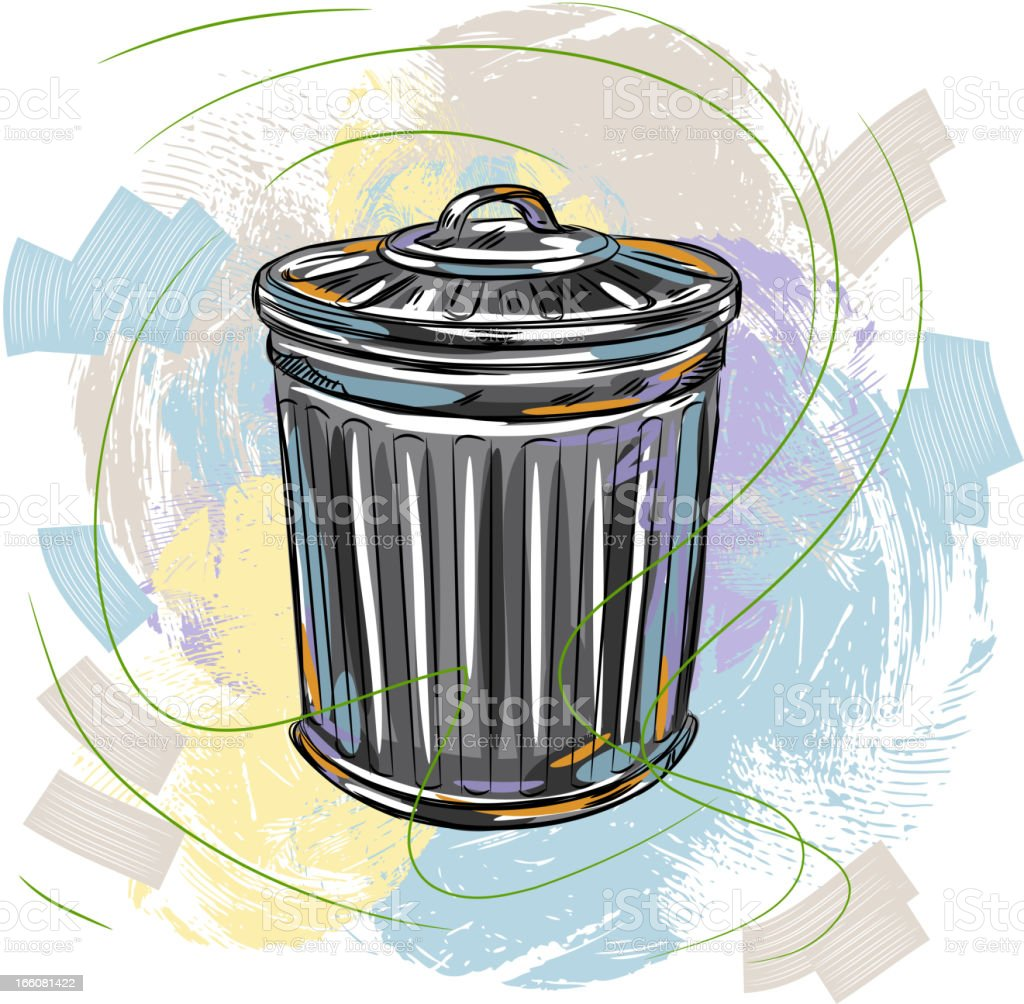 Metal Trash Bin vector art illustration