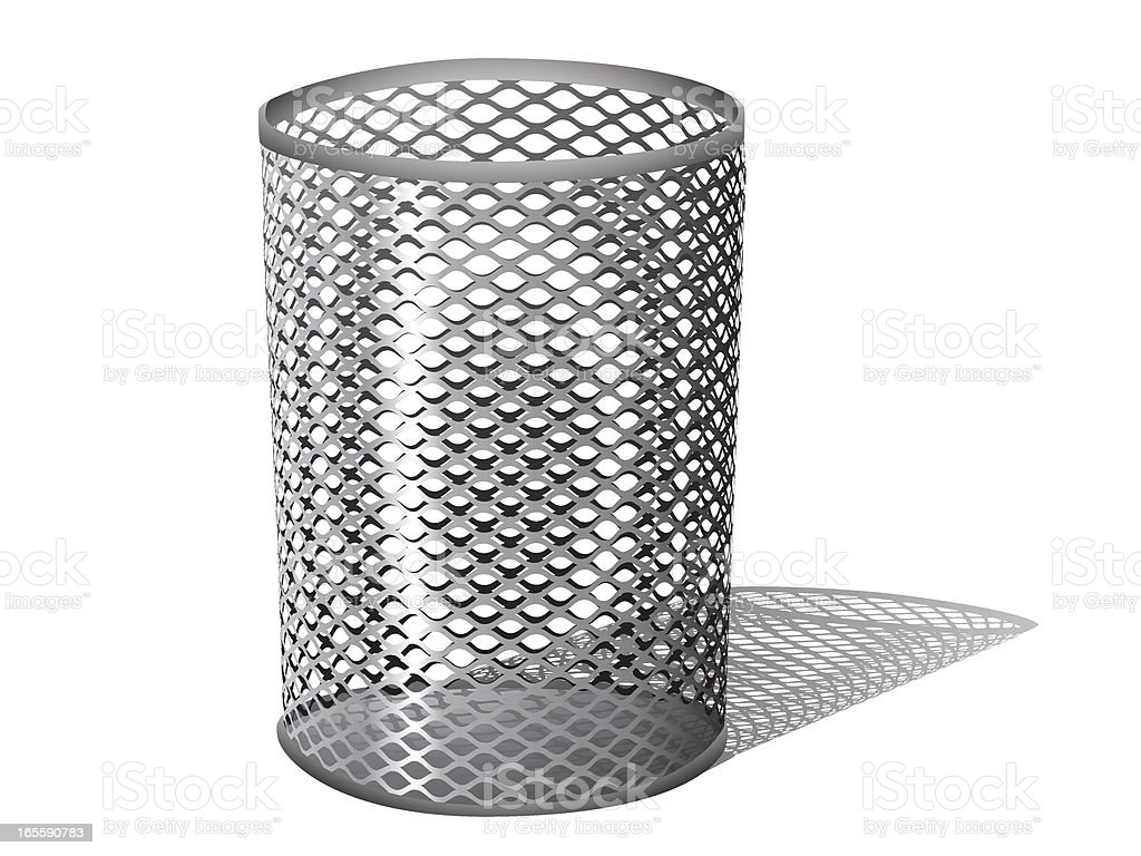 Metal Trash Can vector art illustration