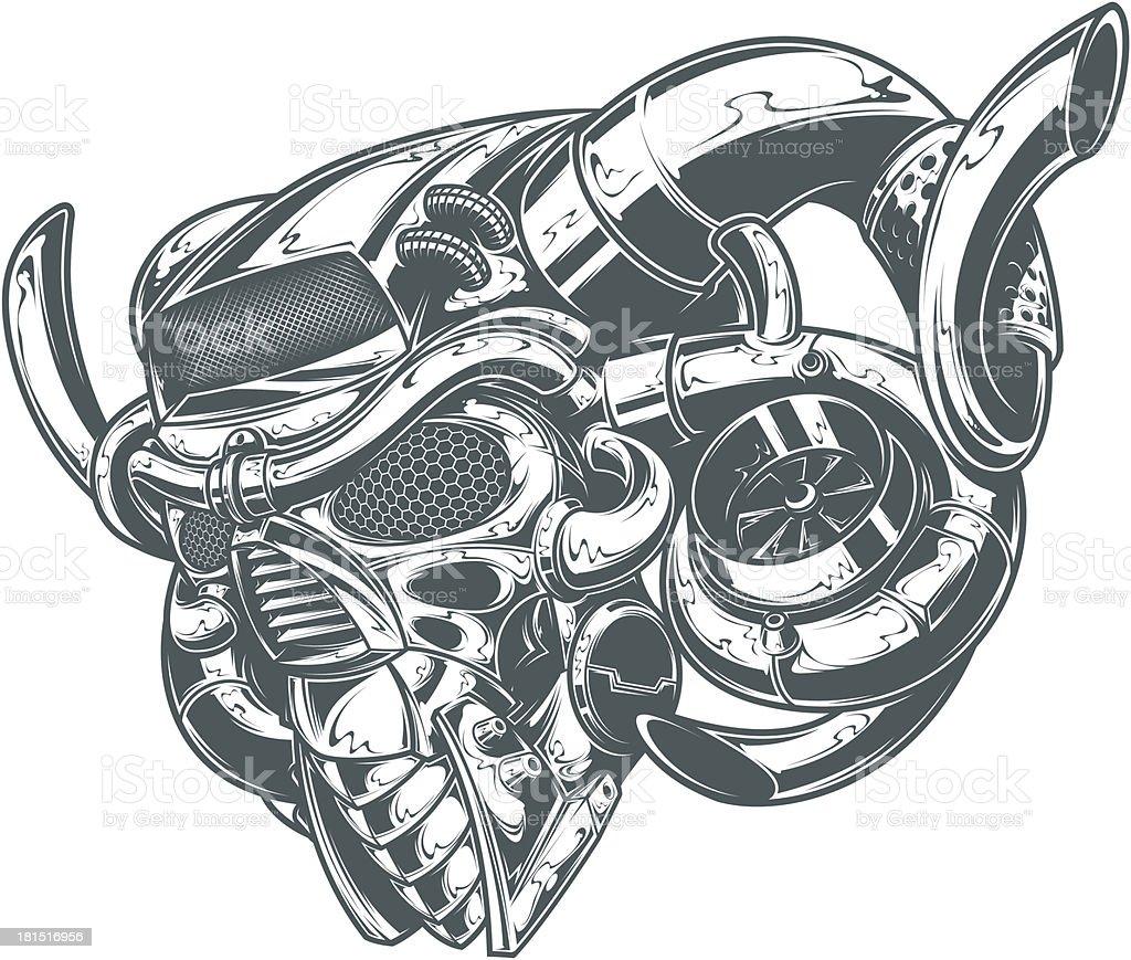 metal turbo demon vector art illustration