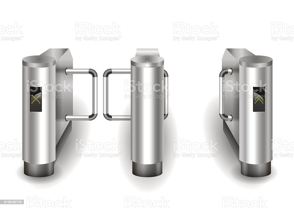 Metal turnstiles to enter vector art illustration