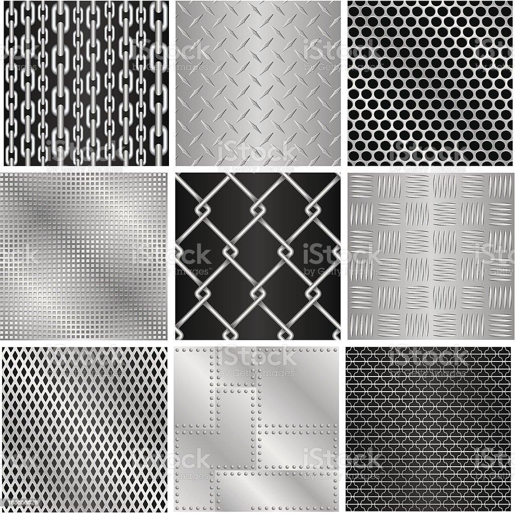 Metal (9 seamless textures) royalty-free stock vector art