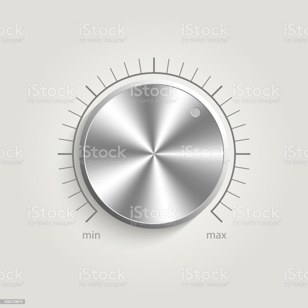 Metal vector volume music control vector art illustration