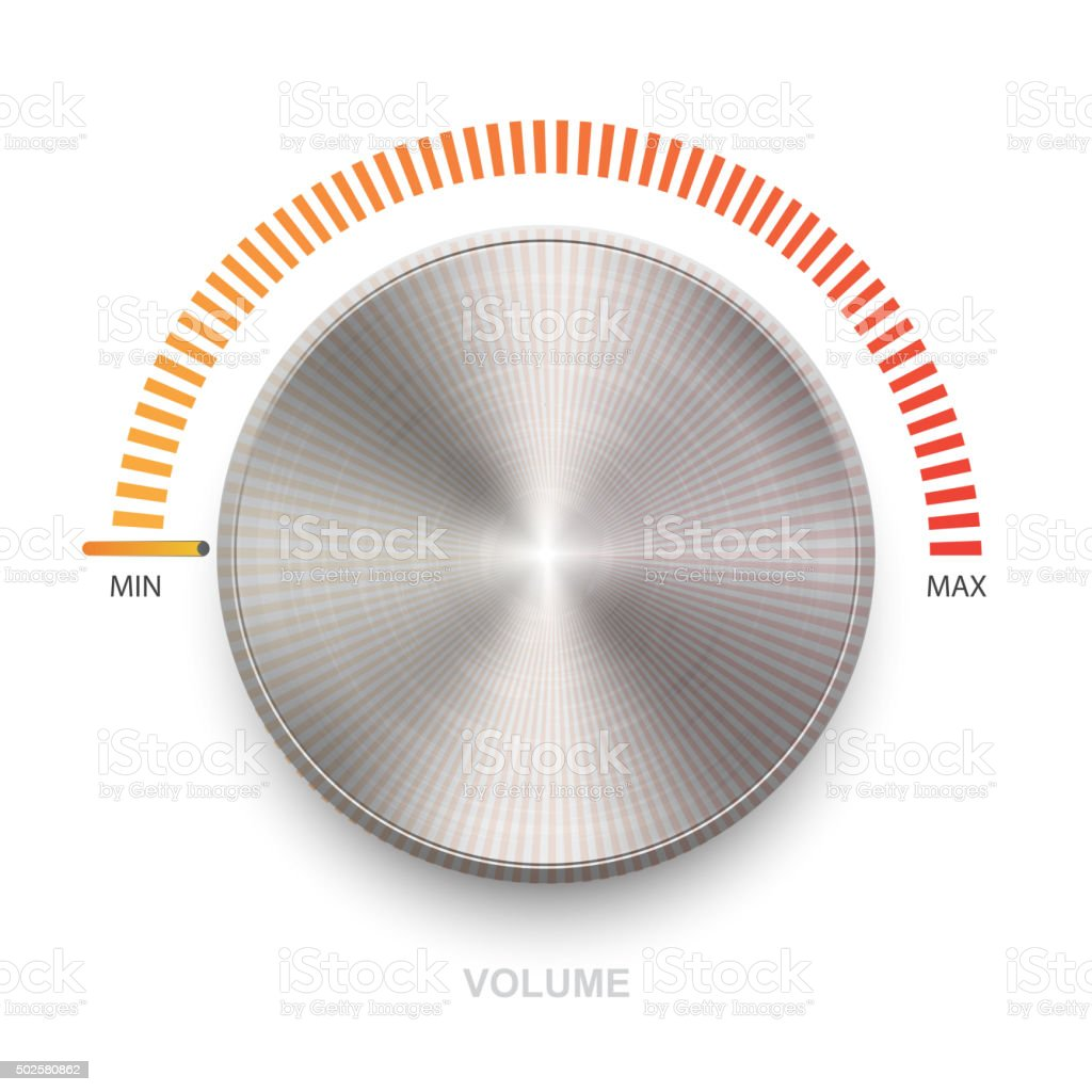 Metal volume sound button. vector art illustration