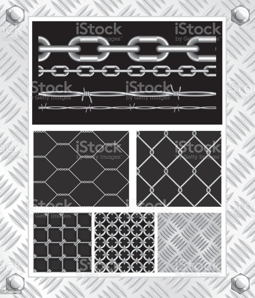 Metal wire and chain (seamless) vector art illustration