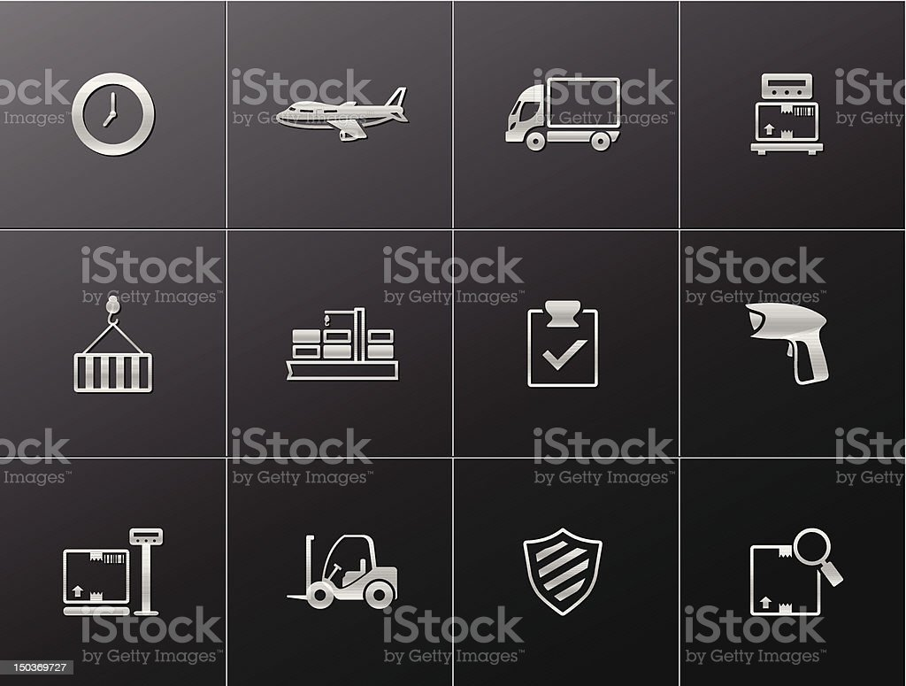 Metalic Icons - More Logistic royalty-free stock vector art