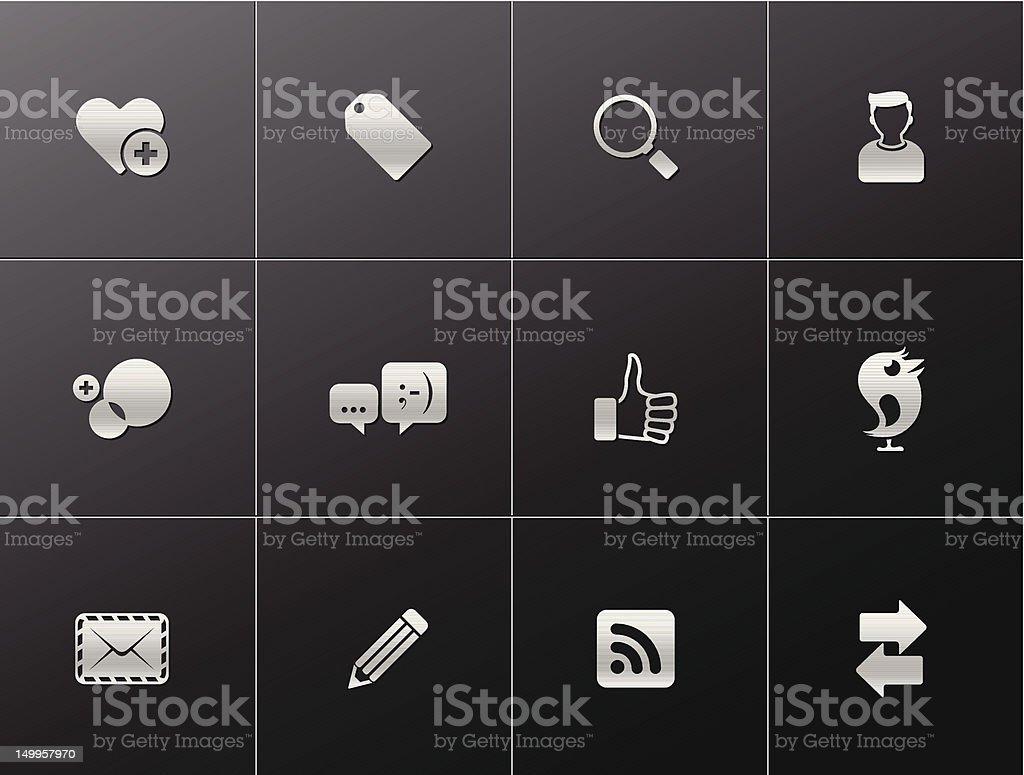 Metalic Icons - Social Network royalty-free stock vector art