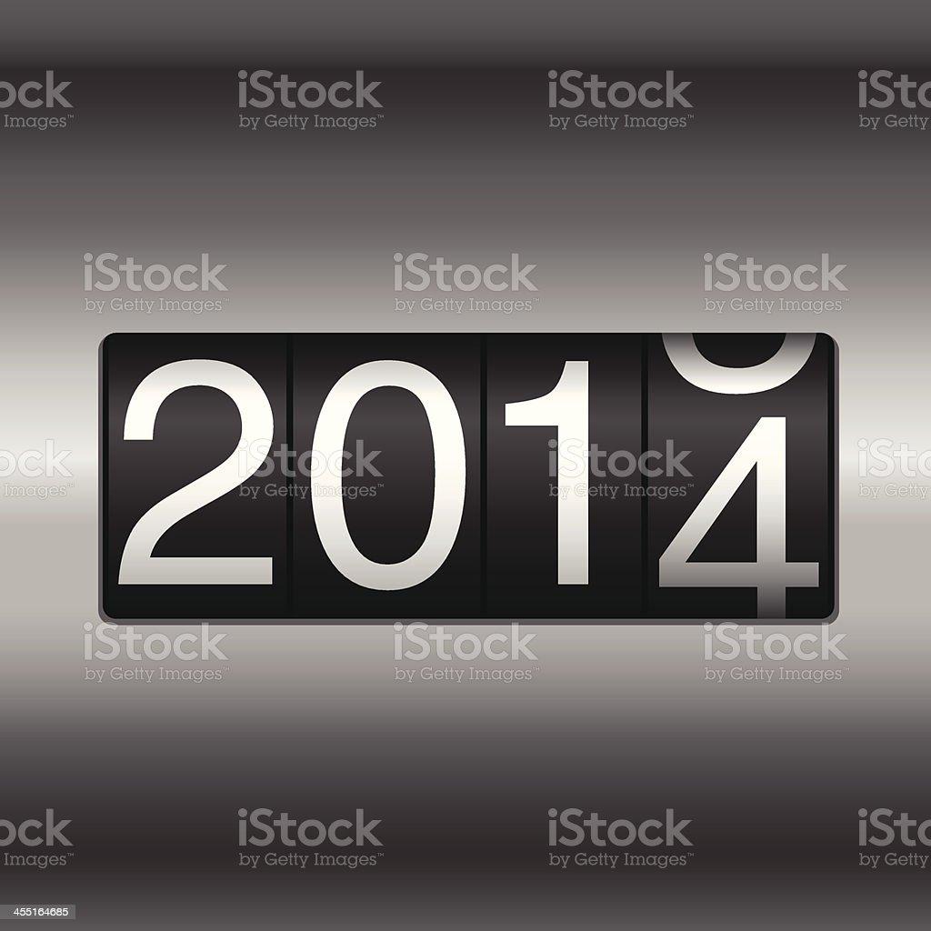 Metallic 2014 New Year Odometer vector art illustration