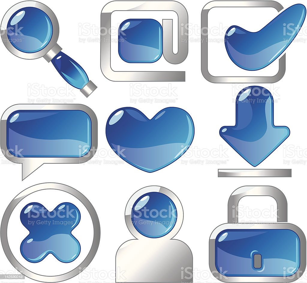 Metallic and blue icons royalty-free stock vector art