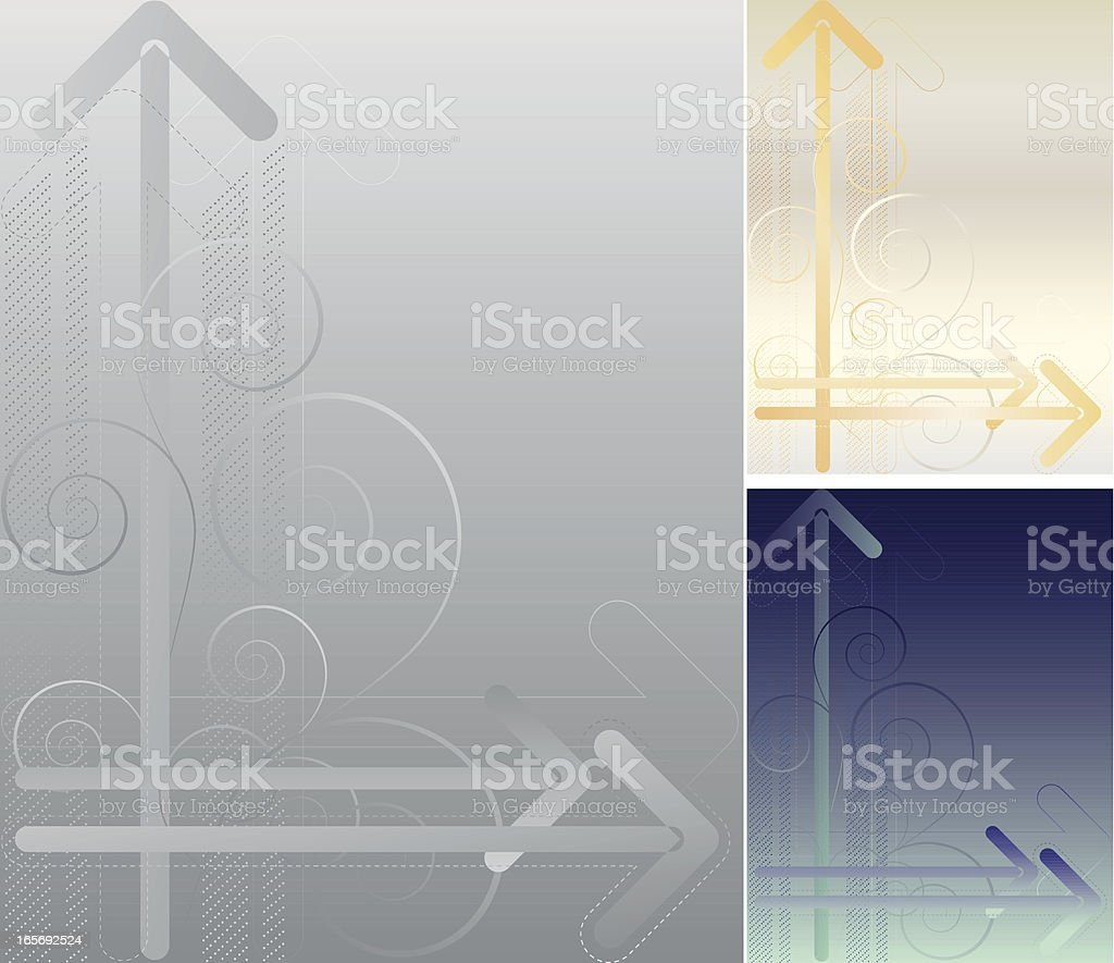Metallic-Pfeile Hintergrund-Set-Gold, Silber oder Blaugrün Lizenzfreies vektor illustration