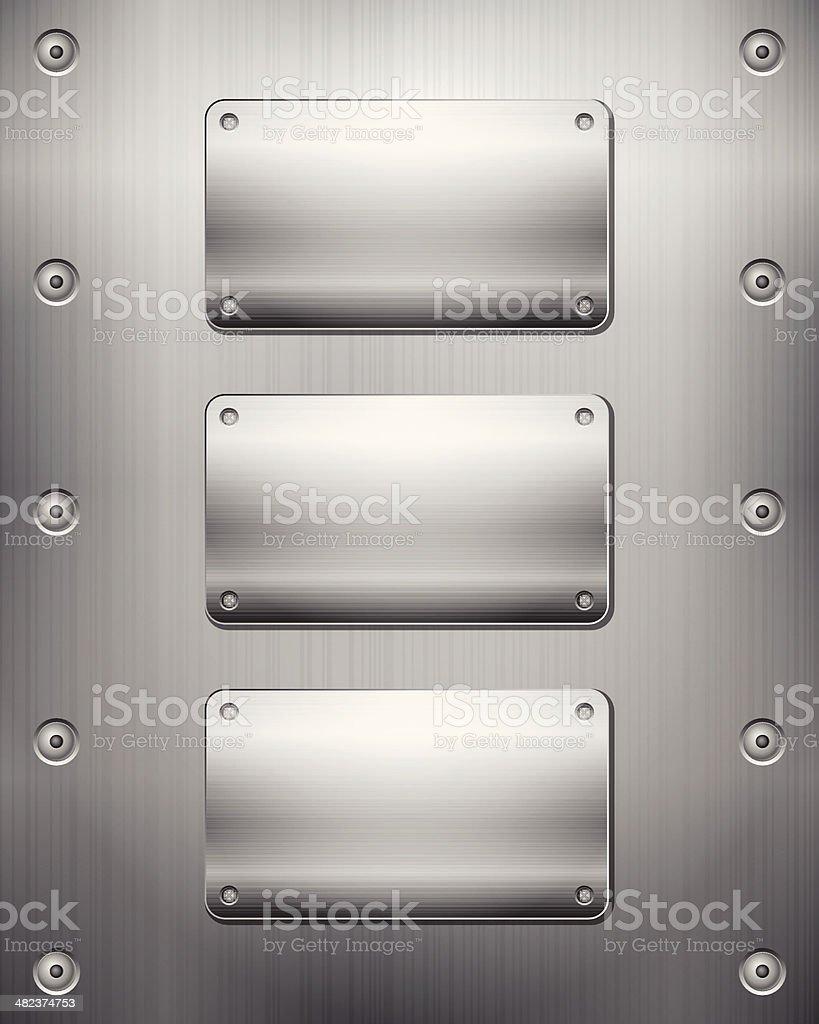 Metallic background and plates vector art illustration