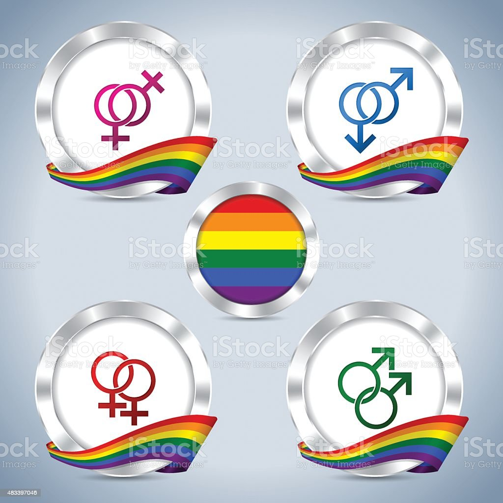 Metallic badges with gay pride ribbon and symbols vector art illustration