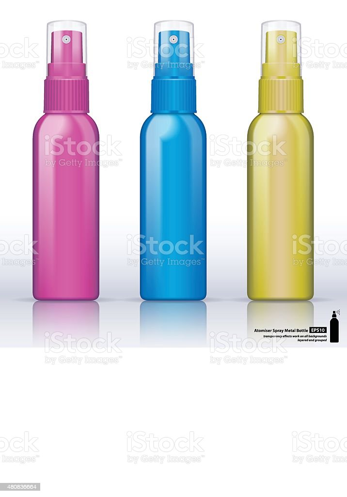 Metallic bottle atomiser vector art illustration