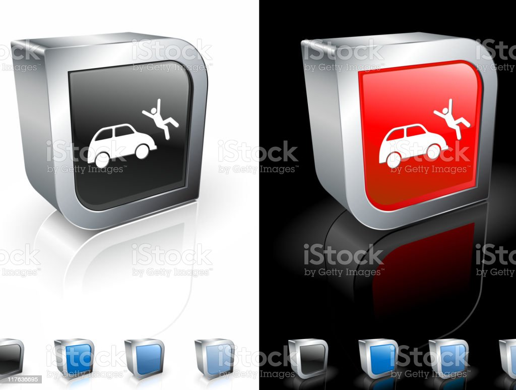 metallic button with car accident royalty-free stock vector art