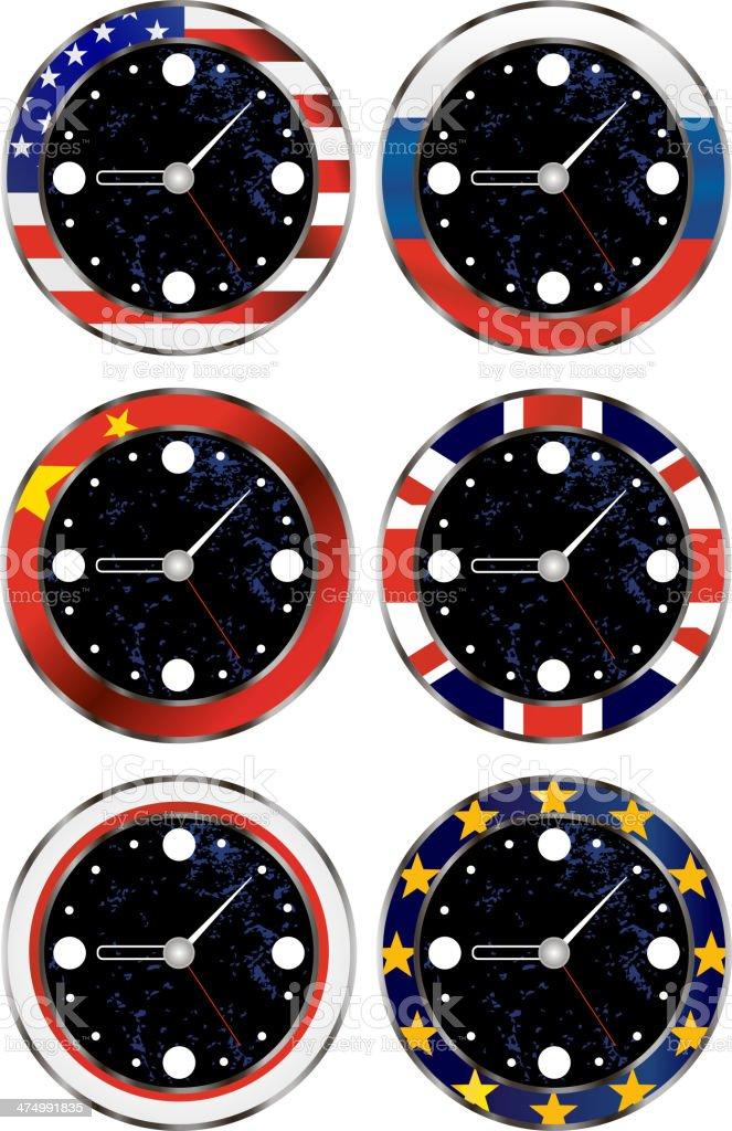 Metallic clocks with most popular international flags royalty-free stock vector art
