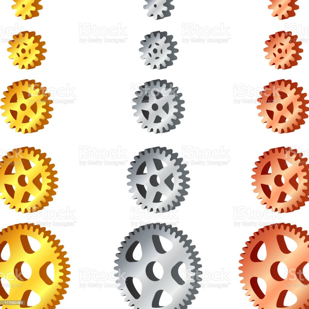 Metallic gear sets royalty-free stock vector art