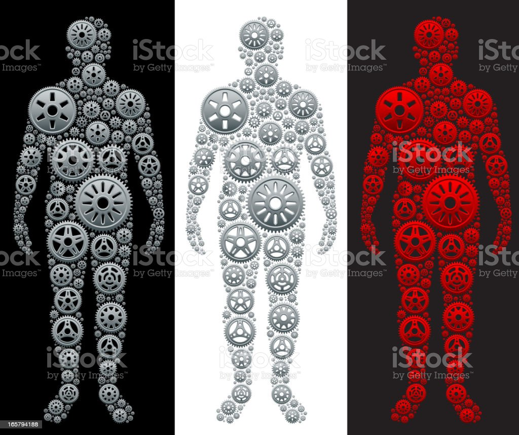Metallic Gears in Shape of Person royalty-free stock vector art