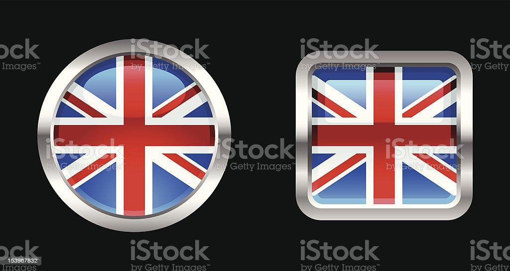 Metallic Glossy Flag | United Kingdom royalty-free stock vector art