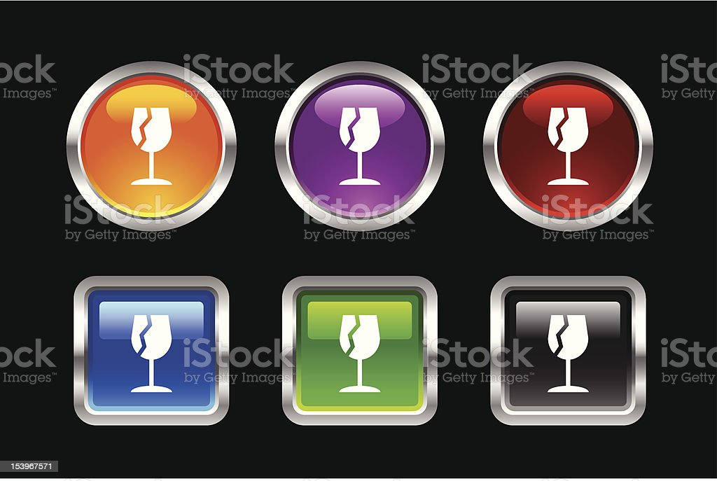 Metallic Glossy Icon | Broken Glass royalty-free stock vector art