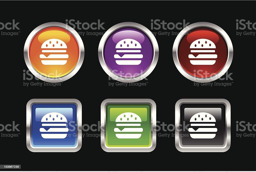 Metallic Glossy Icon | Burger royalty-free stock vector art