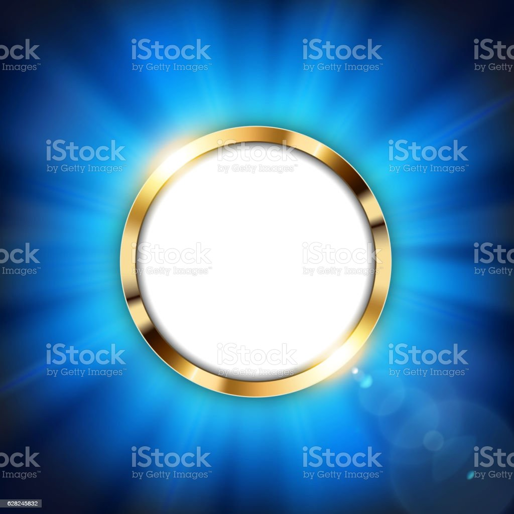 Metallic gold ring with text space and blue light illuminated vector art illustration