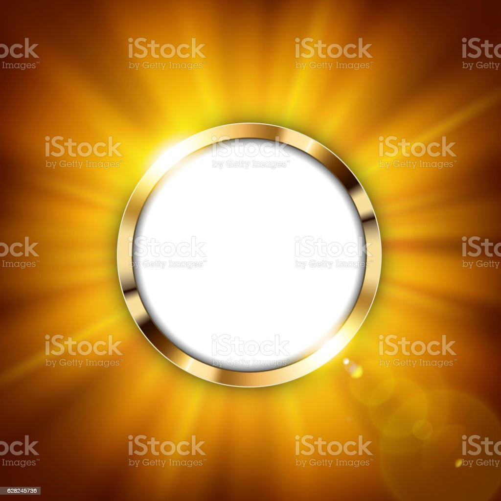 Metallic gold ring with text space and gold light illuminated vector art illustration