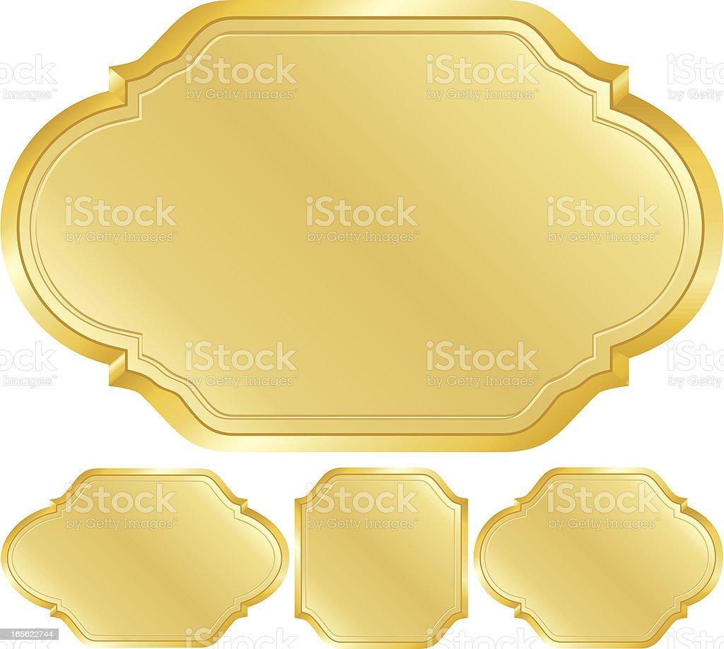 Metallic Gold Zeichen, Embleme und Symbole-Design-Elemente-Set Lizenzfreies vektor illustration