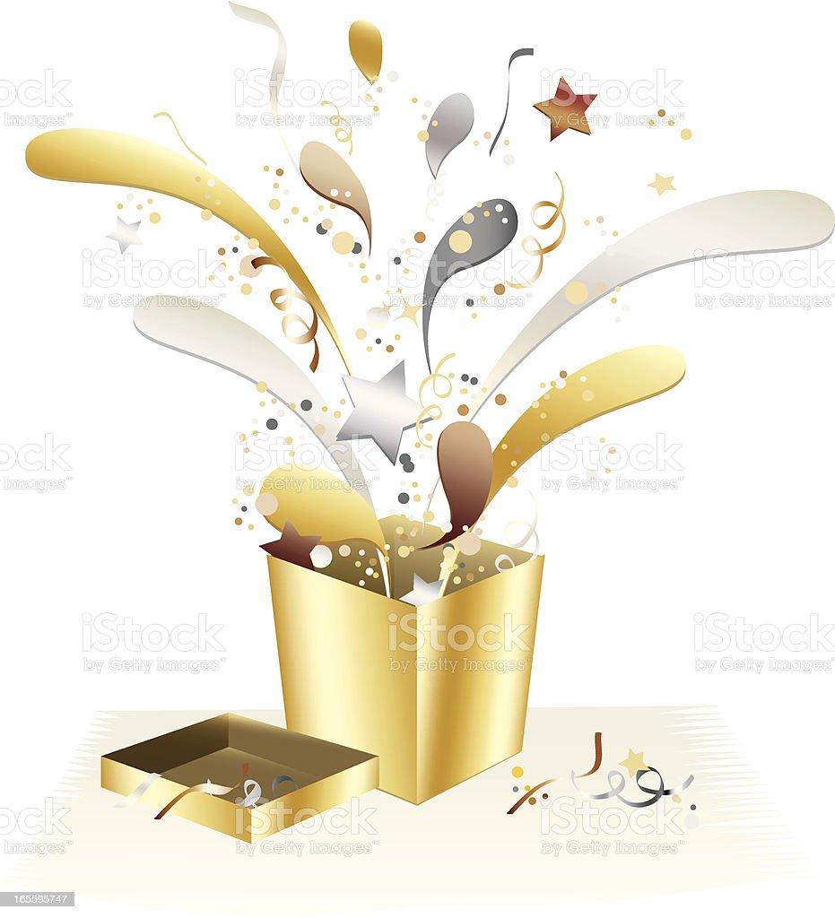 Metallic-Gold, Silber, Bronze-Geschenk-Box mit Konfetti Feier-Design Lizenzfreies vektor illustration