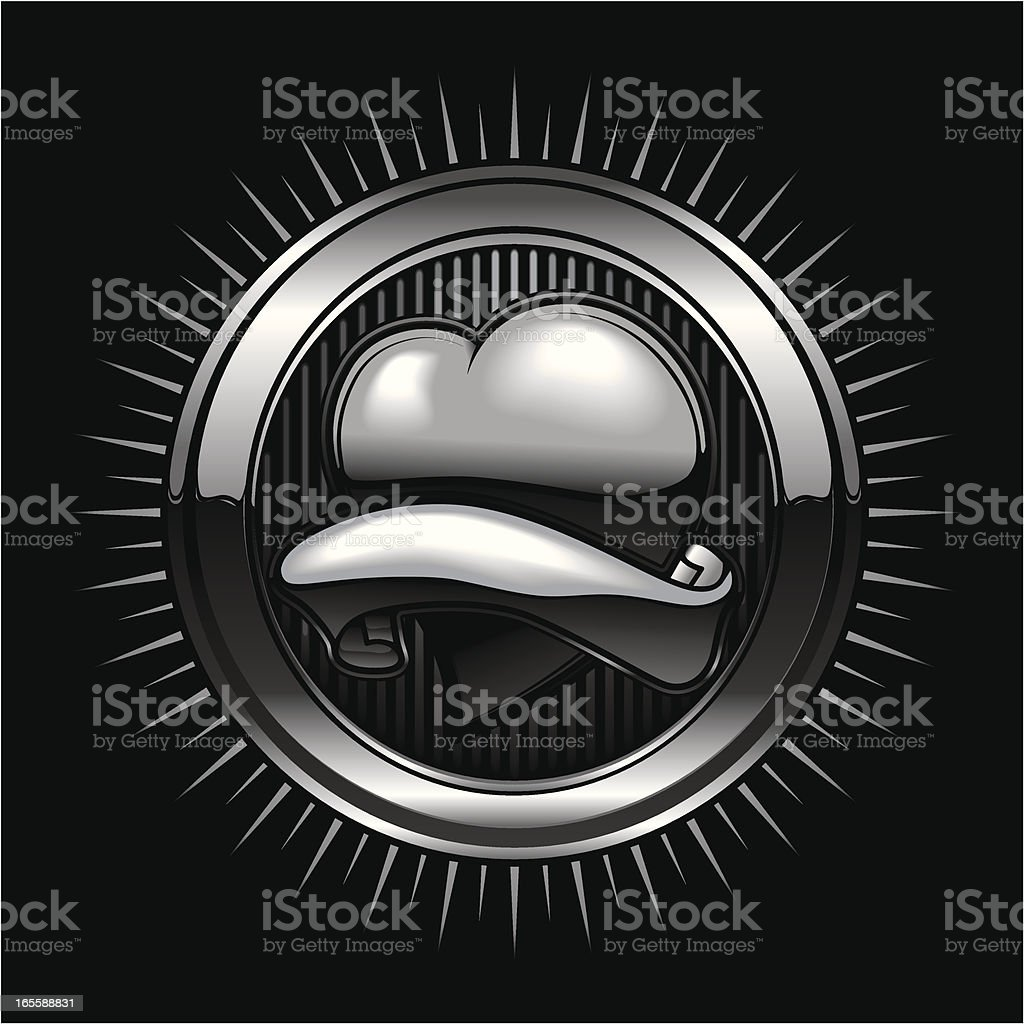 metallic heart insignia royalty-free stock vector art