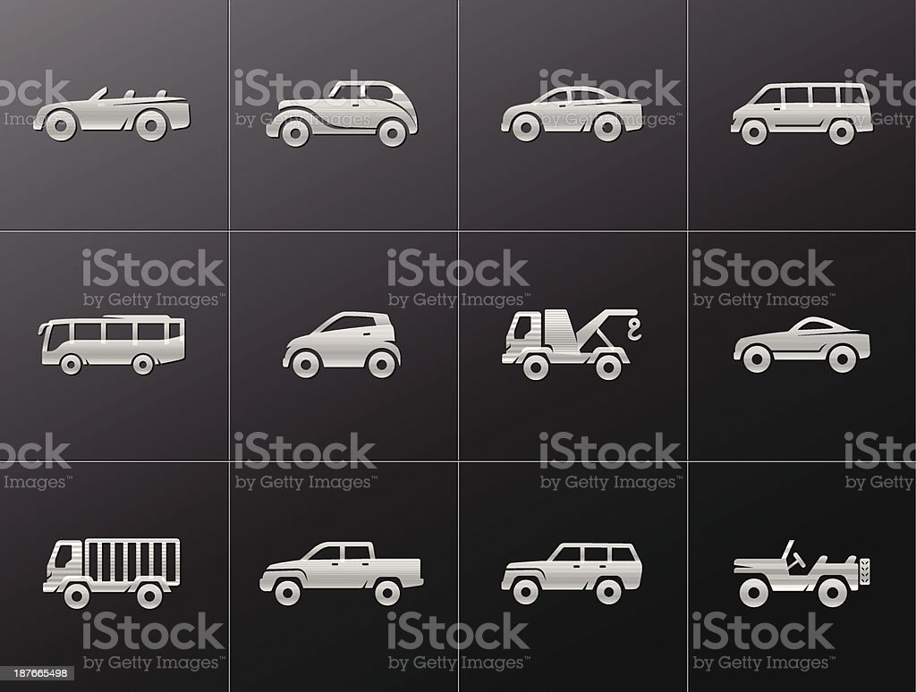 Metallic Icons - Cars vector art illustration