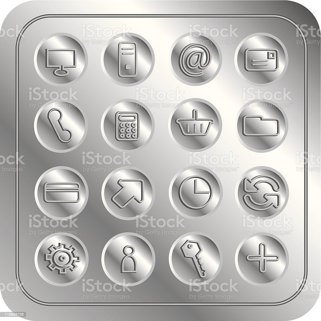 Metallic icons - ecommerce royalty-free stock vector art