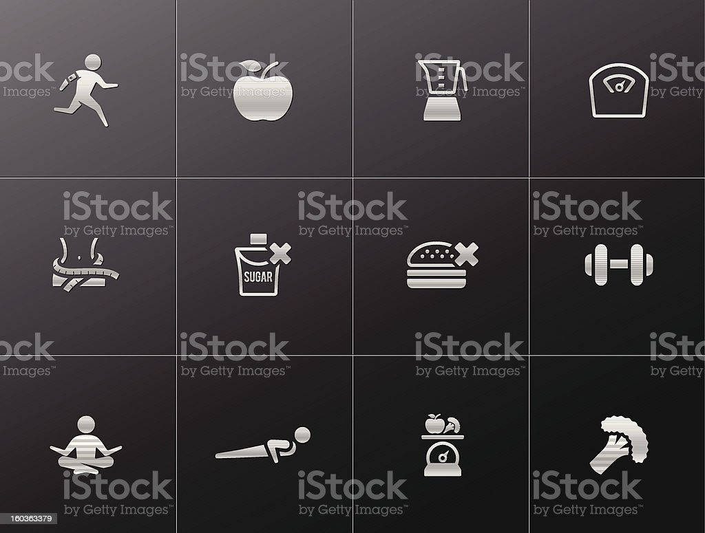 Metallic  Icons  - Healthy Life royalty-free stock vector art