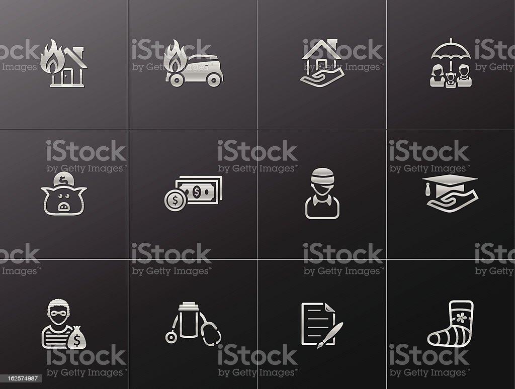 Metallic Icons - Insurance vector art illustration