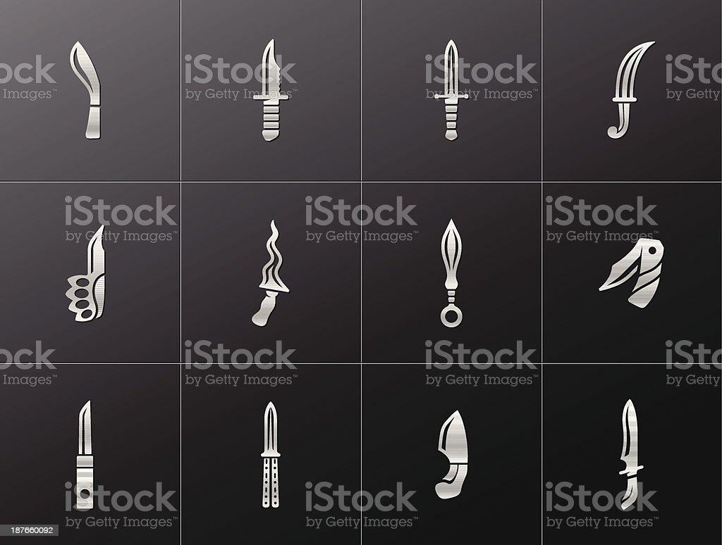 Metallic Icons - Knives vector art illustration