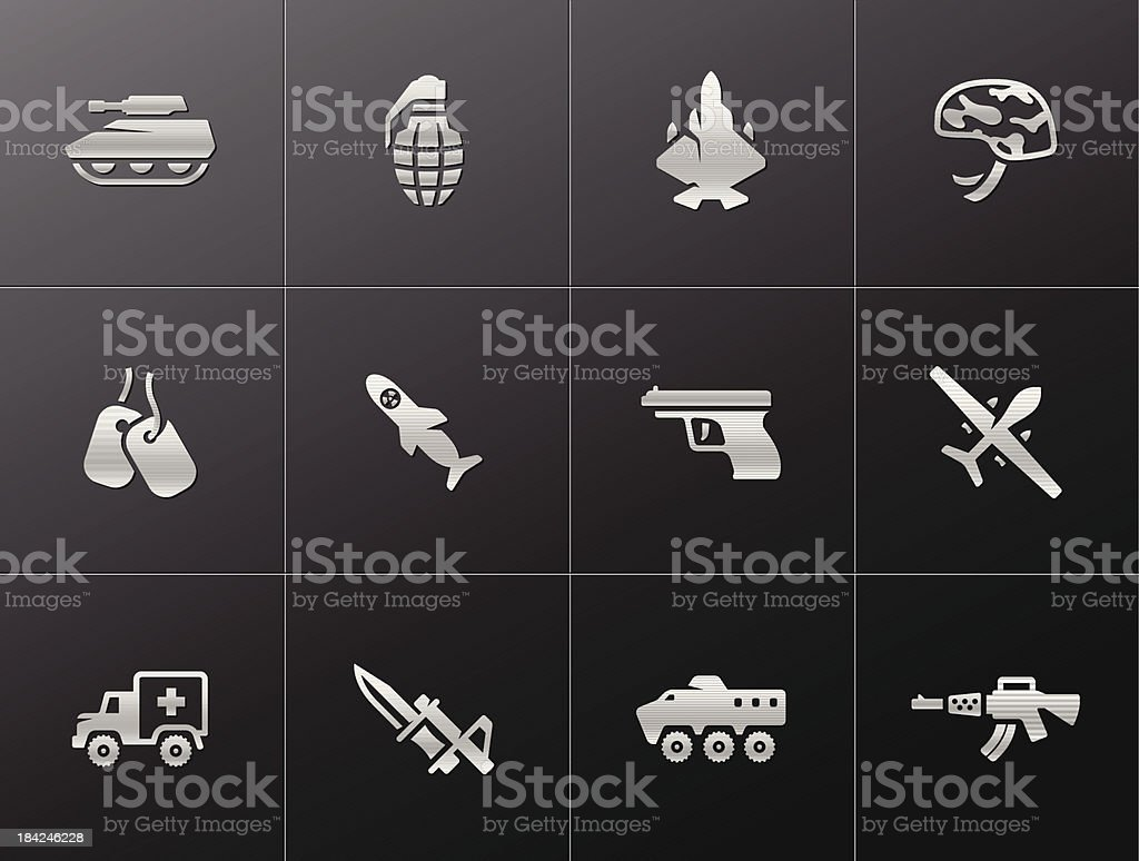 Metallic Icons - Military royalty-free stock vector art