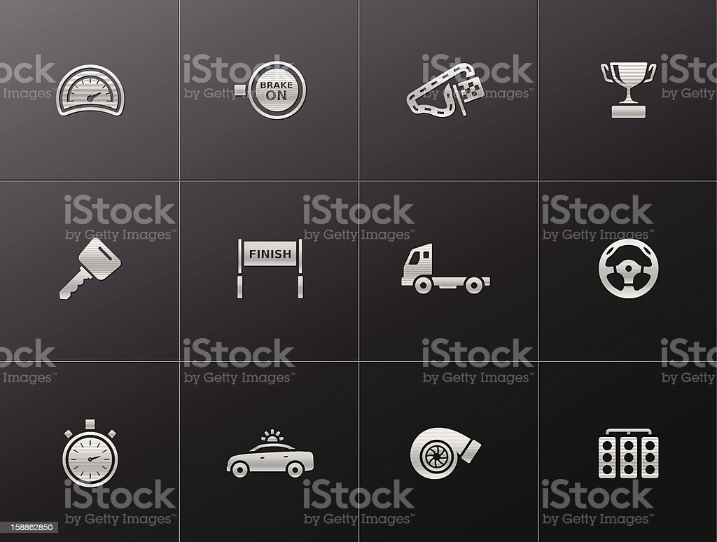 Metallic Icons - More Racing royalty-free stock vector art