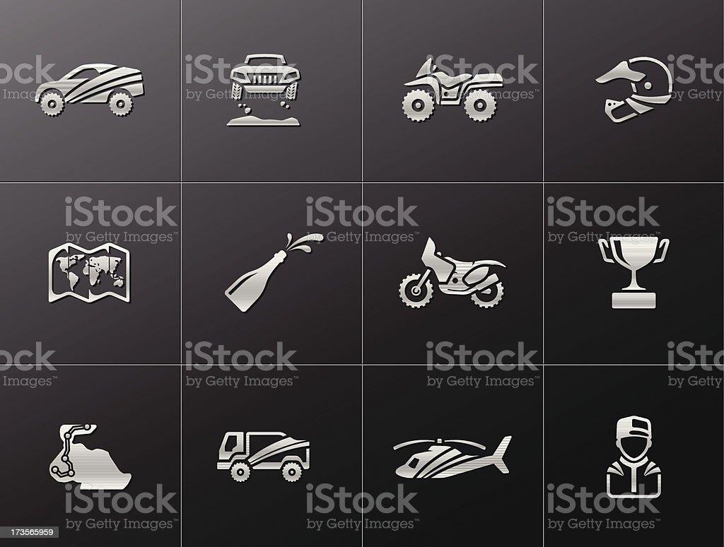 Metallic Icons - Rally royalty-free stock vector art