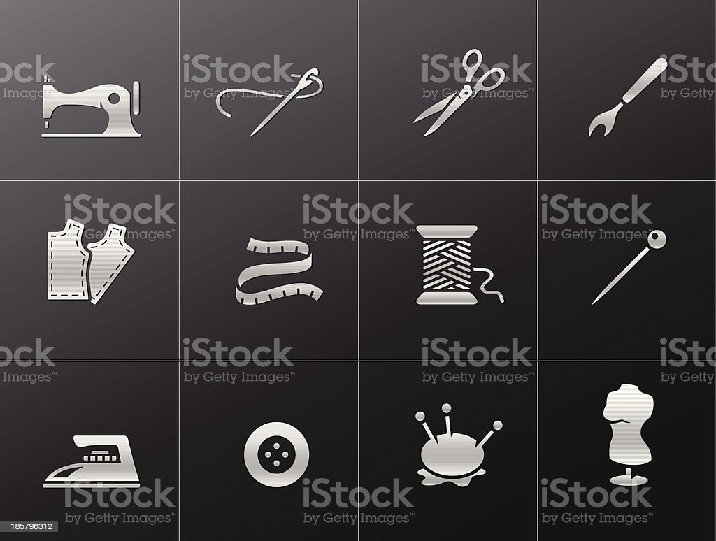 Metallic Icons - Sewing vector art illustration