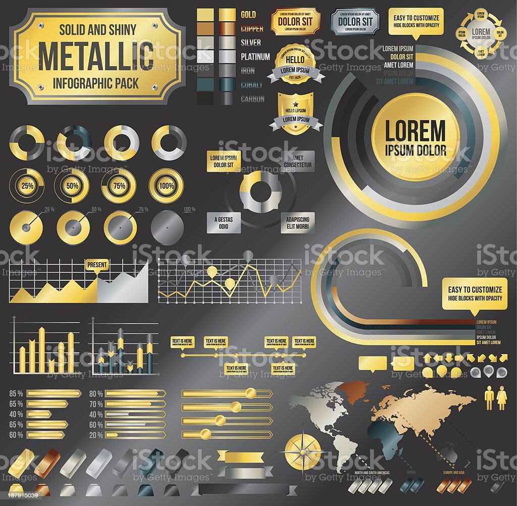 Metallic infographic elements vector art illustration
