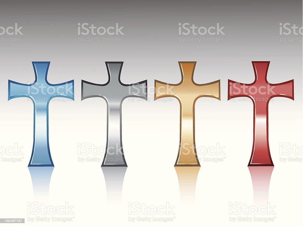 Metallic Latin Crosses royalty-free stock vector art