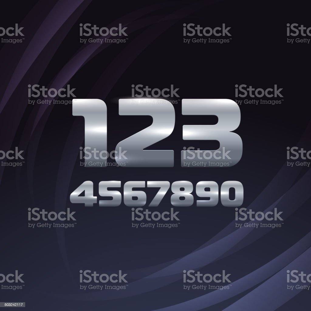 Metallic Movie Trailer Digits royalty-free stock vector art