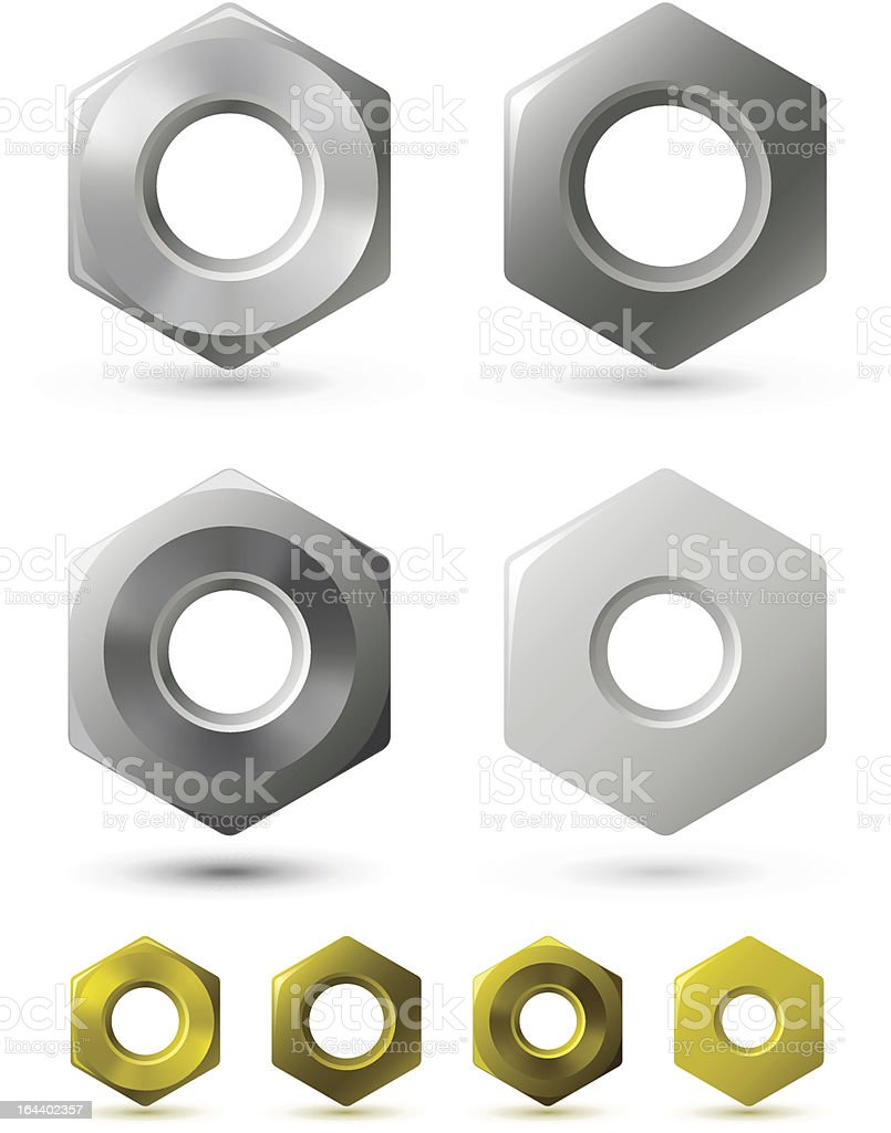 Metallic nuts royalty-free stock vector art