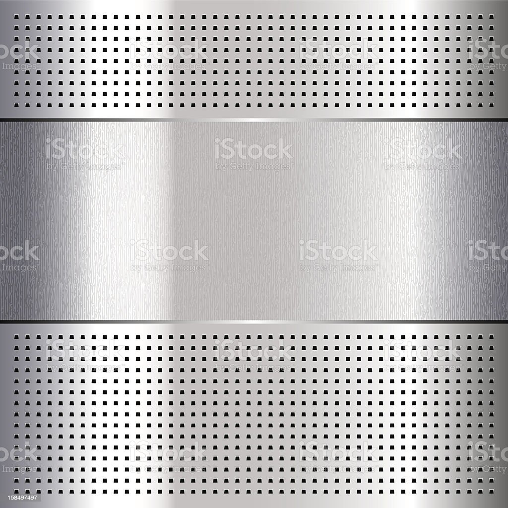 Metallic perforated chromium steel sheet royalty-free stock vector art