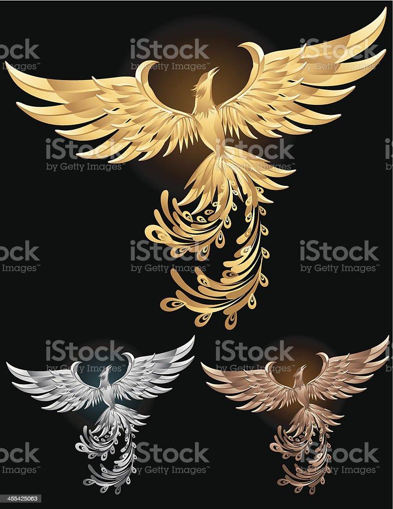 Metallic Phoenix royalty-free stock vector art